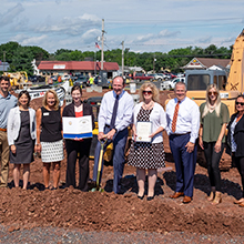 Group photo of QNB Bank and friends breaking ground for its new Upper Perkiomen Valley Office in Pennsburg