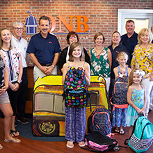 Representatives from Upper Bucks schools picking up their donated backpacks and school supplies.