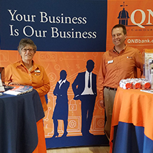Bill and Linda of QNB at the Upper Perkiomen Valley Chamber of Commerce Expo.