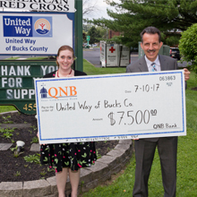 QNB presenting a check to United Way Bucks County.
