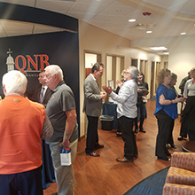 Guests mingling at a mixer event inside QNB Bank's Warminster Office