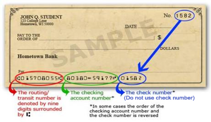 Bank Routing Number Example. Details in text below.
